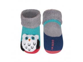 Kojenecké ponožky s chrastítkem SOVA zelené