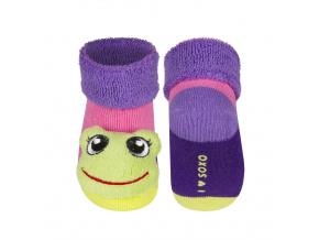 Kojenecké ponožky s chrastítkem ŽABKA růžové