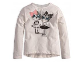 Dívčí triko s dlouhým rukávem MixńMATCH KOČIČKY bílé