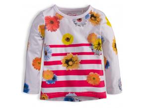 Dívčí triko KNOT SO BAD KVĚTY růžový proužek