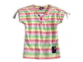 Dívčí tričko PEBBLESTONE SUMMER růžové proužky