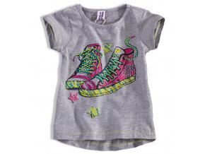Dívčí tričko PEBBLESTONE TENISKY šedé