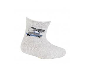 Kojenecké chlapecké vzorované ponožky WOLA PEJSEK šedé