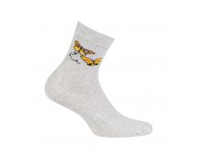 Dívčí ponožky se vzorem WOLA MOTÝLI šedé