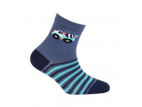 Vzorované chlapecké ponožky WOLA AUTO MÍCHAČKA modré jeans