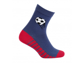 Vzorované chlapecké ponožky WOLA MÍČ tmavě modré