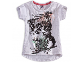 Dívčí tričko PEBBLESTONE KOČIČKA bílé