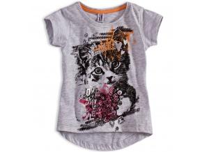 Dívčí tričko PEBBLESTONE KOČIČKA šedé