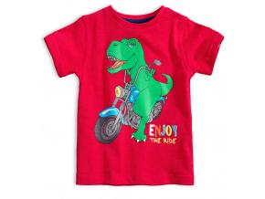 Chlapecké tričko s potiskem KNOT SO BAD DINO RIDE červené