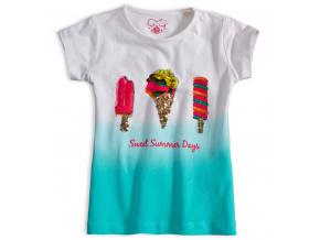 Dívčí tričko s flitry KNOT SO BAD SWEET SUMMER tyrkysové