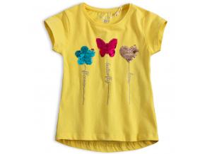 Dívčí tričko s překlápěcími flitry KNOT SO BAD MOTÝL žluté
