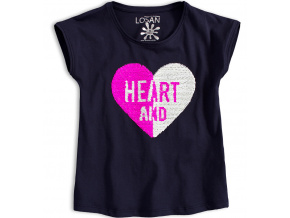 Dívčí tričko s překlápěcími flitry LOSAN HEART modré