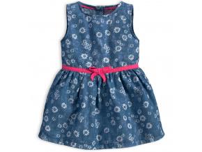 Kojenecké šaty KNOT SO BAD FLOWERS středně modré