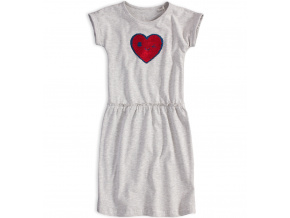 Dívčí šaty s překlápěcími flitry KNOT SO BAD SRDCE šedý melír