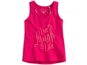Dívčí tričko bez rukávů KNOT SO BAD LAUGH růžové