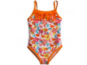 Dívčí plavky vcelku KNOT SO BAD PLAMEŇÁCI oranžové