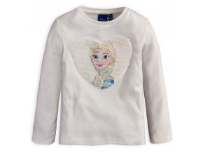Dívčí tričko s překlápěcími flitry Frozen ELSA smetanové
