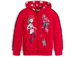 Dívčí mikina s flitry CHIC červená