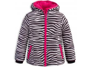 Dívčí zimní bunda LEMON BERET ZEBRA proužky