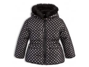 Kojenecká dívčí zimní bunda LEMON BERET PUNTÍKY černá