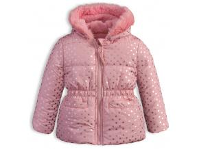 Kojenecká dívčí zimní bunda LEMON BERET PUNTÍKY růžová