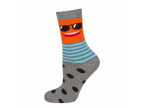 eng pl SOXO Childrens terry socks with happy faces 18934 6