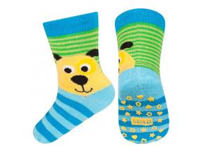 Dětské ponožky s protiskluzem SOXO PEJSEK modré