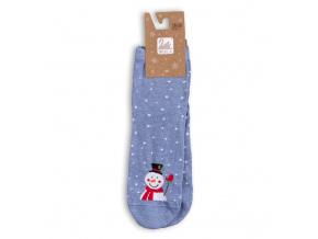 Dámské ponožky se zimním motivem WOLA SNĚHULÁK modrý melír