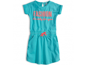 Dívčí bavlněné šaty KNOT SO BAD FASHION tyrkysové
