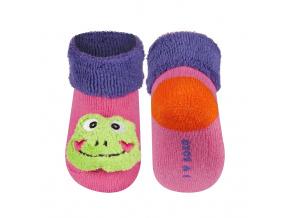 Kojenecké ponožky s chrastítkem SOXO ŽABKA růžové