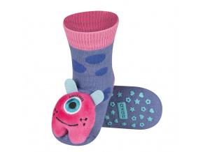 Kojenecké ponožky s chrastítkem SOXO MONSTER fialové