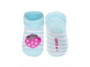 Kojenecké ponožky s chrastítkem SOXO JAHŮDKA tyrkysové