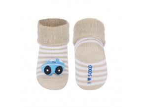 Kojenecké ponožky s chrastítkem SOXO AUTÍČKO béžové