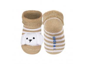 Kojenecké ponožky s chrastítkem SOXO PEJSEK béžové