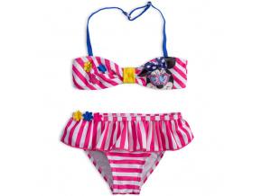 Dvoudílné dívčí plavky DISNEY MINNIE KYTIČKY růžové