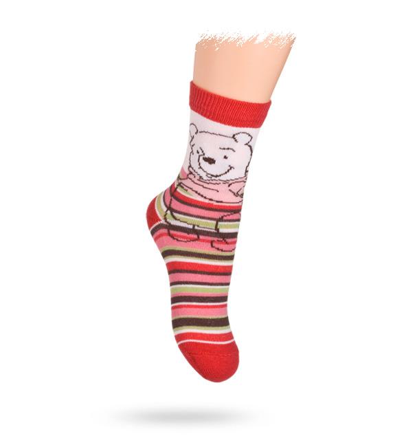 KREBO Dětské ponožky vzor DISNEY MEDVÍDEK PÚ Velikost: 21-23