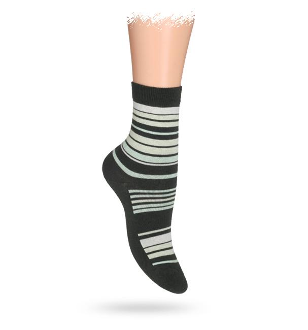 WOLA Dětské ponožky ABS vzor PROUŽKY khaki Velikost: 27-29