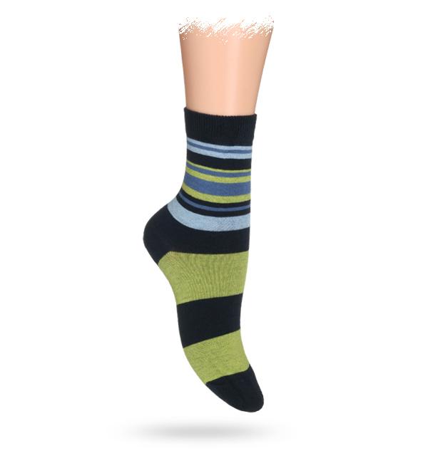 WOLA Dětské ponožky ABS vzor PRUHY zelené Velikost: 30-32