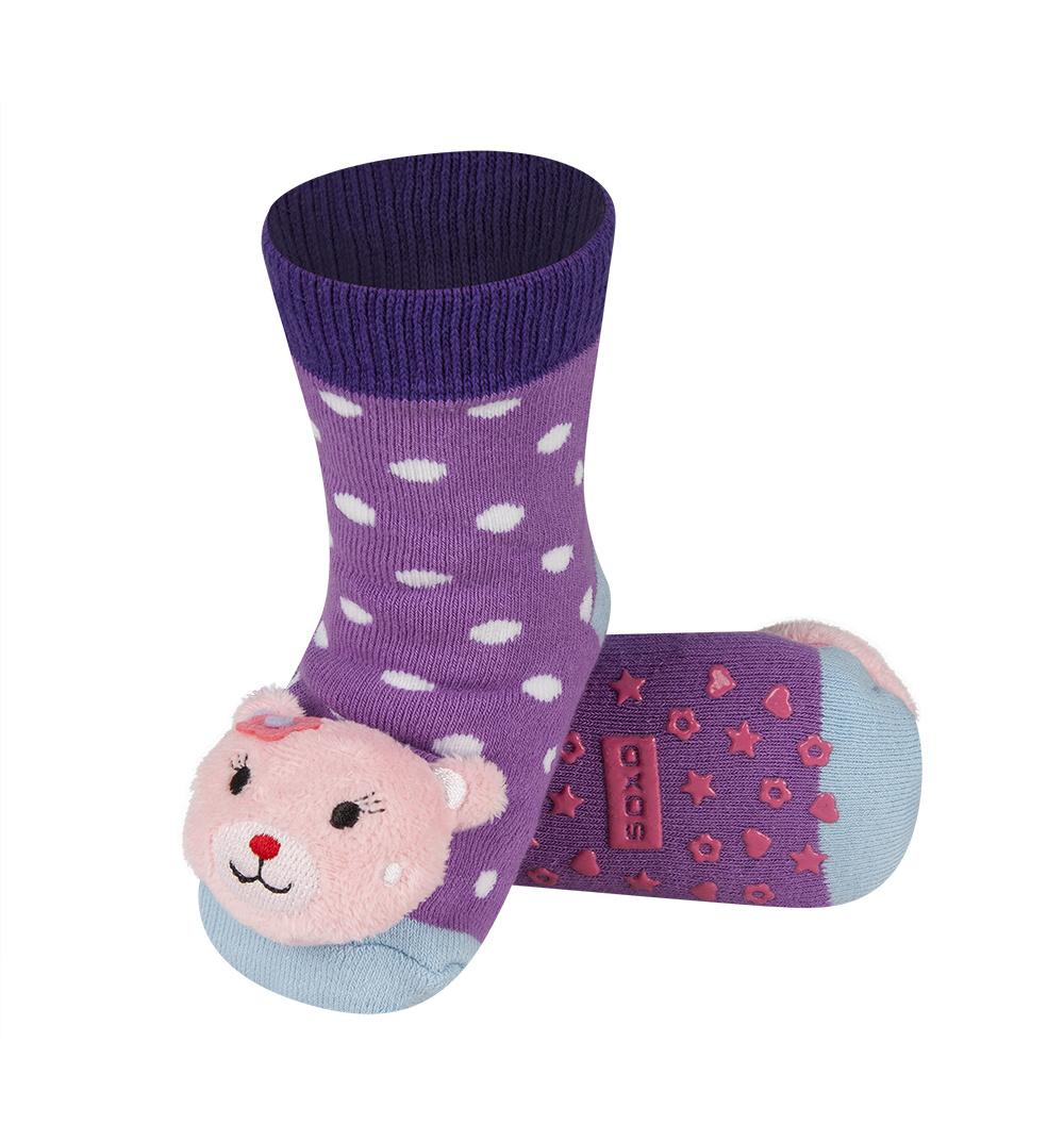 21798a8461c SOXO Ponožky s chrastítkem KOČIČKA fialové Velikost  19-21