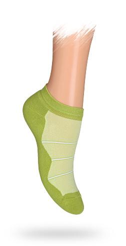 WOLA Dětské kotníkové ponožky PROUŽKY zelené Velikost: 30-32