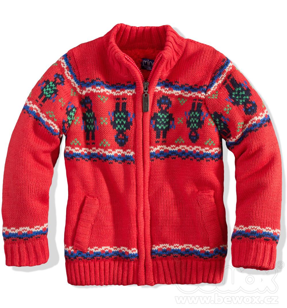 MINOTI Chlapecký zateplený svetr ROBOT červený Velikost: 86-92