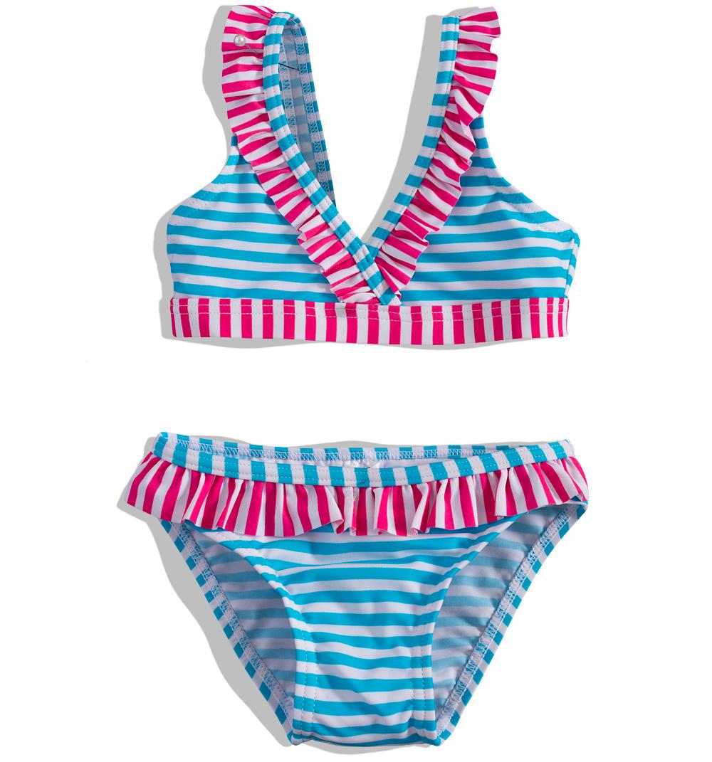Dívčí plavky PEBBLESTONE PROUŽKY tyrkysové Velikost: 122