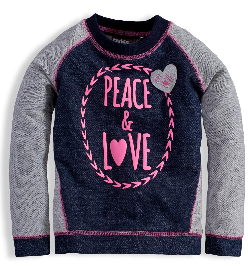 Dirkje Dívčí mikina Peace and love - šedá Velikost: 92