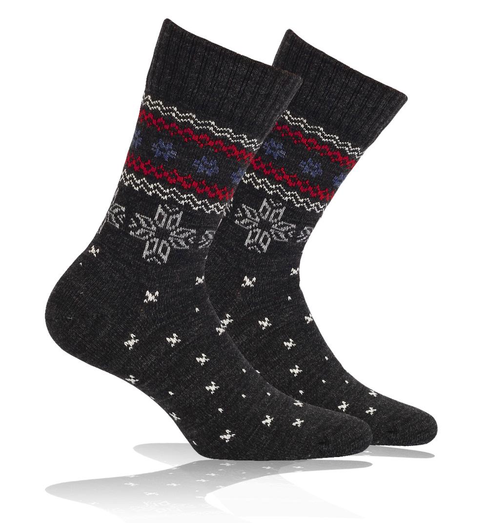 ac0629e3a4b Vlněné ponožky WOLA NORSKÝ VZOR černé