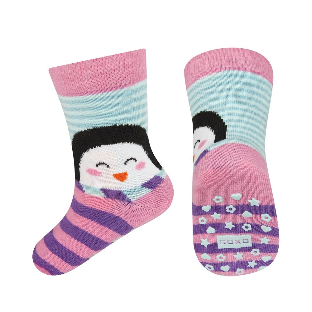 Dětské ponožky s protiskluzem SOXO TUČŇÁK růžové Velikost: 22-24