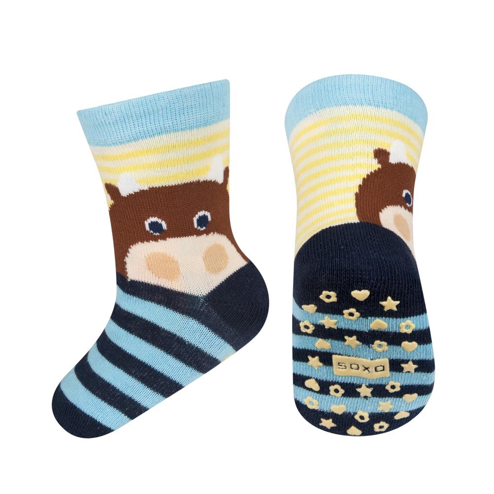 Dětské ponožky s protiskluzem SOXO ZVÍŘÁTKO modré Velikost: 22-24