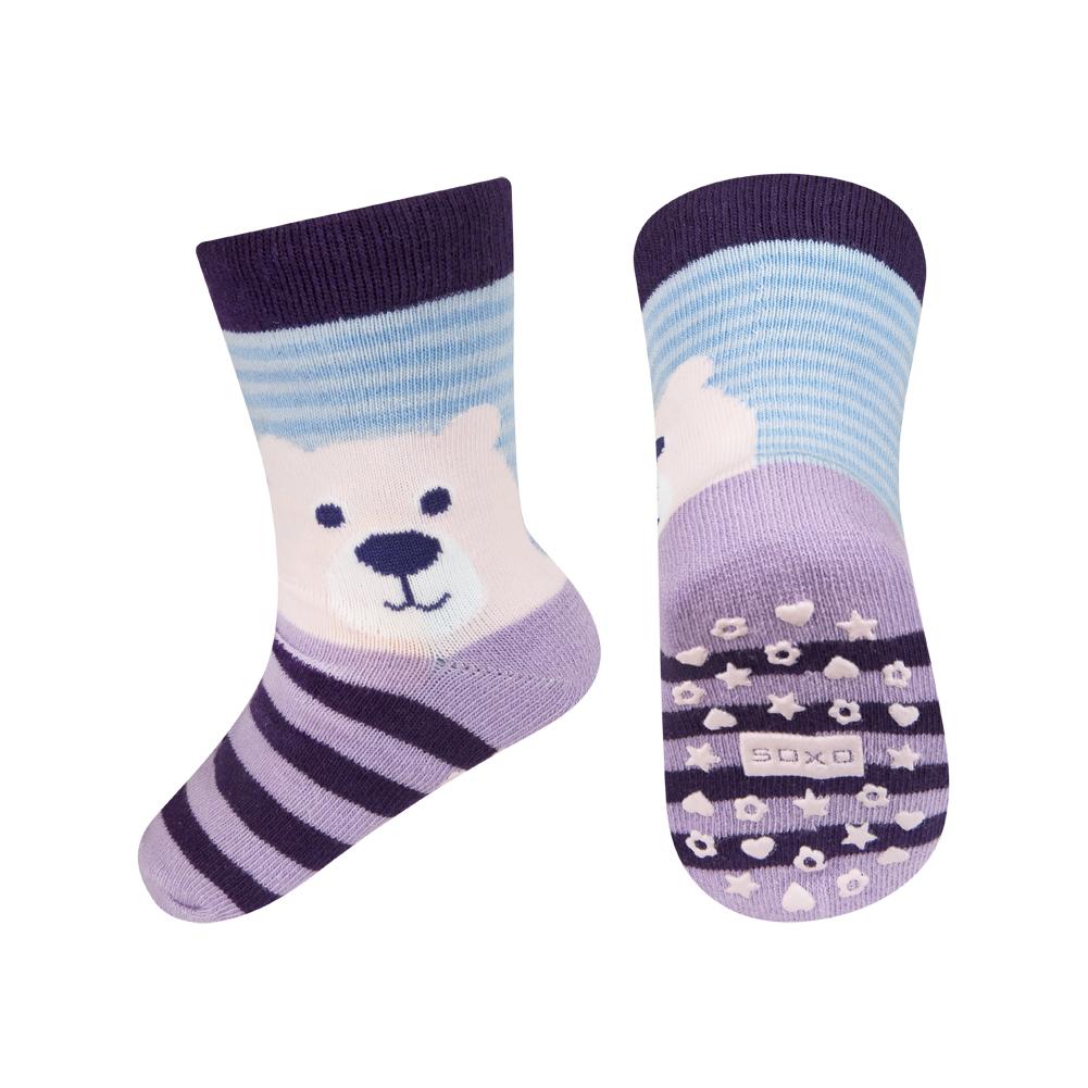 Dětské ponožky s protiskluzem SOXO MÉĎA fialové Velikost: 22-24