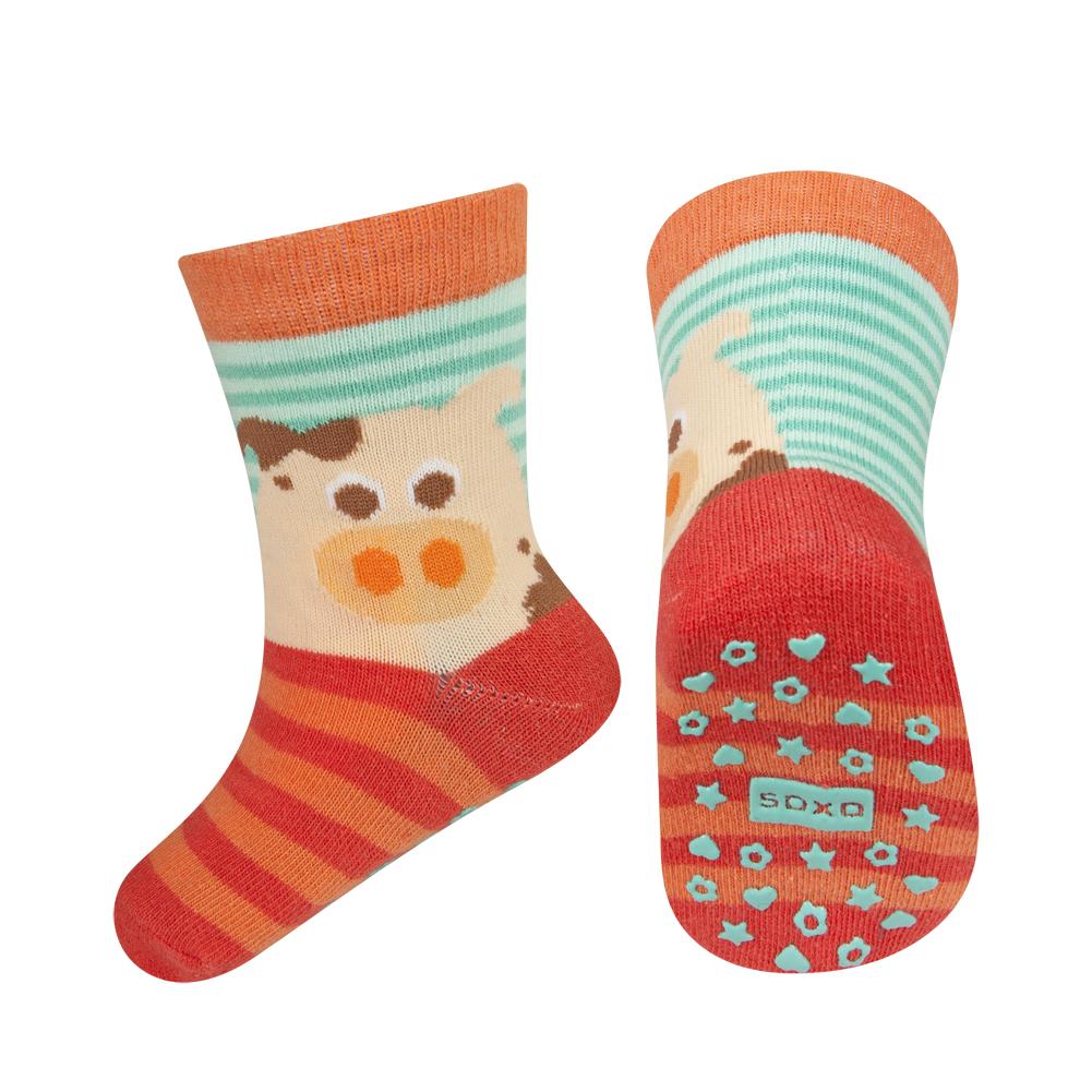 Dětské ponožky s protiskluzem SOXO PRASÁTKO oranžové Velikost: 22-24