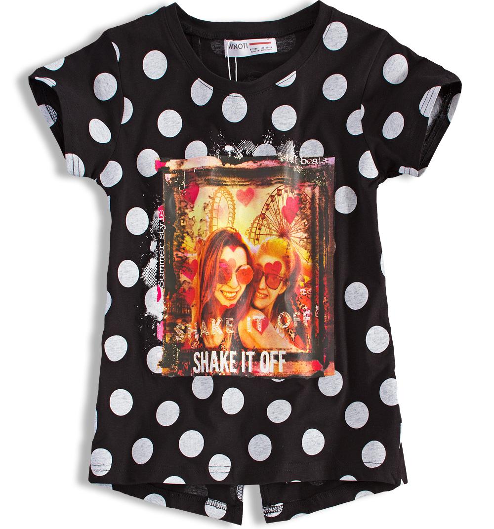 Dívčí tričko MINOTI SHAKE černé s puntíkem Velikost: 134-140