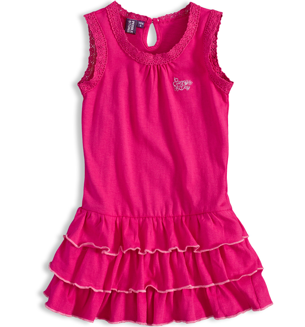 7342b249812 Dívčí šaty bez rukávů PEBBLESTONE SUNNY DAY růžové Velikost  104